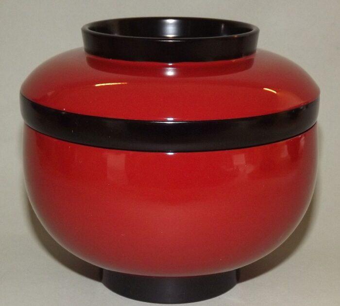 Lack Deckel-Bowl Sanbu aka - 3 teilig 1